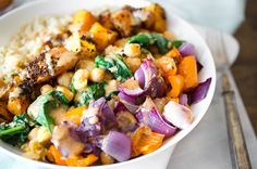 Rise Shine Cook - Roasted Squash and Quinoa Bowl with Almond Citrus Sauce (what a delicious mouthful)