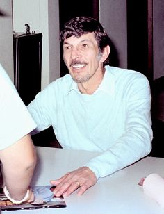 Leonard Nimoy with a mustache.