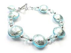 Murano Glass Pebble Bead Bracelet - Aquamarine
