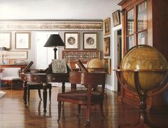 Connecticut living room of Bill Blass // floors, globe, is that a vintage photo -? Bill Blass, Light Blue Walls, Sutton Place, Interior Decorating, Interior Design, Decorating Ideas, Decor Ideas, Interior And Exterior, Dining Chairs