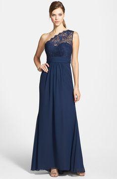 c5ea62176f9 One-Shoulder Lace   Chiffon Gown. Wedding Bridesmaid ...