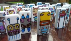 robots painted on dominos