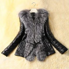 Stylish Long Sleeves Solid Color Faux Fur Collar Faux Leather Coat For Women, AS THE PICTURE, L in Jackets & Coats | DressLily.com
