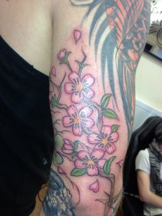 #freehand #cherryblossoms #tattoo #seriousink Freehand cherry blossoms by Mark Pennell Serious Ink Shirehampton