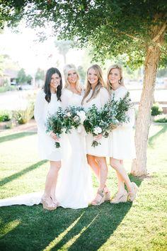cream #bridesmaid #dresses @weddingchicks
