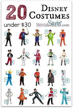 20 BOYS' DISNEY COSTUMES under $30 - never too early to get those costumes ready for Halloween!