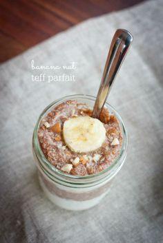 Banana Nut Teff Parfait via @Brittany Mullins (Eating Bird Food)/ // #breakfast #Overnightoats #parfait