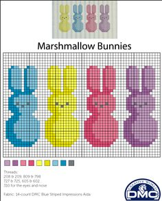 Free Marshmallow Bunnies cross stitch chart for Easter. Download project sheet on the DMC website: http://dmc-usa.com/Inspiration/Projects/Cotton-Floss-Cross-Stitching/Easter-Peeps.aspx