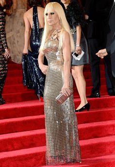 Donatella Versace wore her own design -a gold chain-mail column at #MetGala2012.