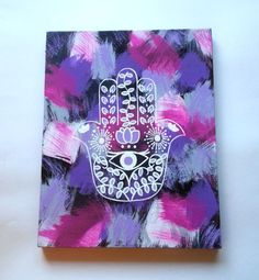 hippie hamsa hand evil eye bohemian fashionable acrylic canvas painting for trendy girls room or dorm room
