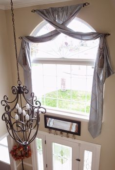 Busy Blonde on a Budget: Ultra Lux Window Treatment for a Palladium Window in a Two Story Foyer Total Cost Under $250