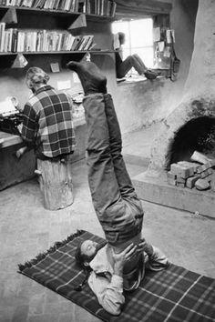 1971: yoga practice at home  (vintage yoga photo) ...... #vintageyoga #yogahistory #1970s #yogaworld #om #namaste #yoga