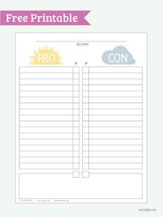 Pro vs Con, Free Printable PDF