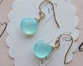 aqua chalcedony gemstone earrings by Elizabeth Williams.  I love how simple and beautiful these are, As well as the rest of her jewelry.