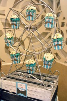 Ferris wheel of cupcakes at a mustache birthday party! See more party planning ideas at CatchMyParty.com!