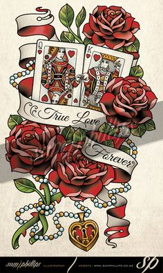 Cards King and Queen of Hearts Tattoo by Sam-Phillips-NZ. on For Michael and Renee. Card Tattoo, Tattoo Flash, Tattoo Crown, Tattoo Time, Couple Tattoos, New Tattoos, Heart Tattoos, Skull Tattoos, Tattoo Ideas
