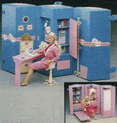 Barbie's Home and Office From The 1980s    Totally had this!  Was so jealous of the Dream House.  But this was fun.  Her office was on one side and her bedroom on the other!