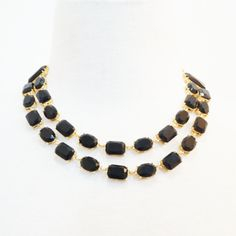Black & Gold Stepping Stone Necklace