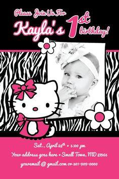 Hello Kitty Zebra Theme Birthday   HELLO KITTY Zebra Print Invitation Printable 1st Birthday Party Baby ...: Hello Kitty Invitation Card, Hello Kitty Birthday Invitations, Birthday Party Invitations, Invitation Cards, Happy Birthday Sister, 1st Birthday Girls, 1st Birthday Parties, Birthday Ideas, Zebra Birthday