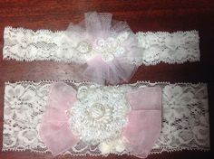 Beautiful heirloom quality garter set. Soft pink ribbon accents a center flower of French Alencon lace. Hand beaded with pearls and sequins on Etsy, $55.00