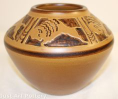 University of North Dakota Pottery Bison Vase (Cable) from Just Art Pottery