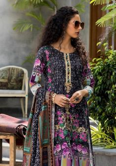 Salina Khaddar Emb Vol 2-page-006 Latest Pakistani Fashion, Pakistani Outfits, Summer Outfits Women, Summer Dresses, Embroidery Suits, Chiffon Shirt, Cotton Dresses, Designer Dresses, Kimono Top