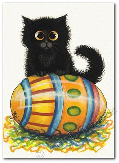 Created from one of my Original Paintings. ~ AmyLyn Bihrle ● Curious Kitties Series #401    Title: Easter Egg      ● Sizes available- Use drop down