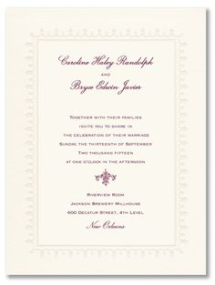 The embossed lace border on this invitation is pre-set and cannot be changed. This card includes matching warm white envelopes unless otherwise noted. When customizing, please note that only one ink color may be selected for your personalization. Price $280.00