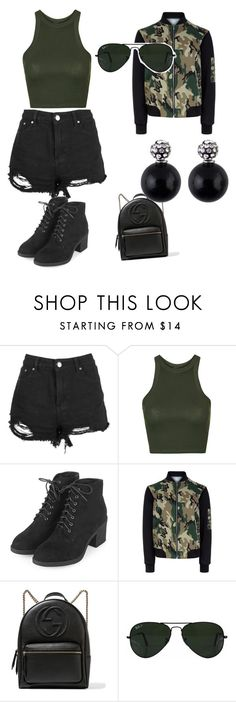 """"""""""" by gabrielle-mathias on Polyvore featuring Topshop, New Look, Gucci and Ray-Ban"""