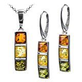 Sterling Silver Multicolor Amber Earrings Necklace Set 18 Inches