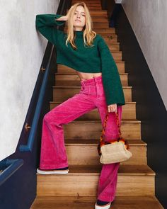 Hip-Hugging Flare Cord Pants : Hip Hugging Flare Cord Pants - Pink Corduroy Trouser Pants with Front Pockets 70s Outfits, Trouser Outfits, Neue Outfits, Fashion Outfits, Trouser Pants, Pink Trousers, Cord Trousers, Corduroy Pants, Fashion Boots