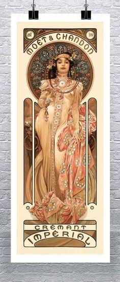 Alphonse Mucha Moet e Chandon Grand Cremant Imperial - Jugendstil und Art Deco - Arte Mucha Art Nouveau, Alphonse Mucha Art, Art Nouveau Poster, Art Nouveau Design, Art Design, Art Deco Posters, Art And Illustration, Illustrations, Retro Poster