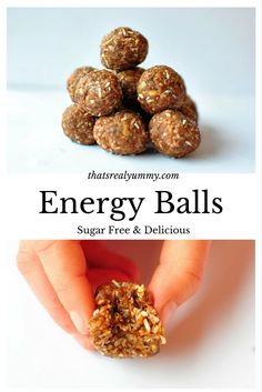 Raw sugar free energy balls are so delicious, but so quick & easy, a perfect snack anytime! Sugar Free Baking, Sugar Free Treats, Sugar Free Recipes, Sugar Free Energy Balls, Vegan Gluten Free, Vegan Vegetarian, Healthy Treats, Healthy Recipes, Free Food