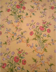 Lee Jofa vintage fabric. Gorgeous, uncut, yardage of botanical fabric. The selvedge is labeled, Sarabande copyright 1976 Joan Kaminski Inc. Hand Printed in vat colors for Lee/Jofa. Features ranunculus, freesia, cherry blossoms, and nigella. Pattern repeats 30 vertical and 25.5