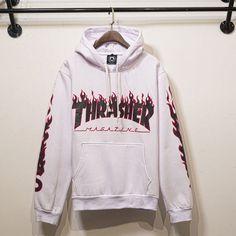 Thrasher Magazine Flame Logo White Hoodie