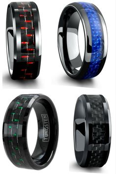 Mens wedding rings! All have genuine carbon fiber inlays going through the center of the ring. I finally found a unique wedding ring for him! I love all these mens wedding bands.