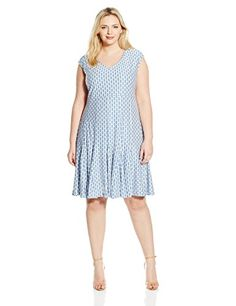 Taylor Dresses Womens Plus Size Honey Comb Knit Fit and Flare WhiteBlue 18W >>> Learn more by visiting the image link.
