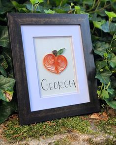 Excited to share this item from my shop: Georgia Peach Quilled Paper Art - framed Quilled Paper Art, Picture Hangers, How To Make Ornaments, Handmade Art, Hand Lettering, Georgia, Art Pieces, Paper Crafts, Gift Wrapping