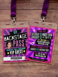 Retro neon VIP PASS backstage pass Vip invitation by LyonsPrints - Image Editing - Edit image online tool. - Retro neon VIP PASS backstage pass Vip invitation by LyonsPrints Rockstar Party, Rockstar Birthday, Vip Pass, Dance Party Birthday, 8th Birthday, Baby Shower Party Favors, Party Favor Tags, Bridal Shower, Star Wars Party