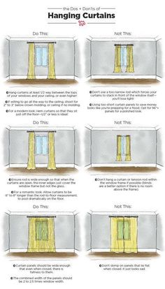 The Dos & Don'ts of Hanging Curtains: An Illustrated Guide Nothing makes a room feel well-dressed quite like carefully chosen, expertly hung curtains. When done right, your ceilings can look taller and your room will appear complete. Apartment Living, Apartment Therapy, Apartment Hacks, Cheap Apartment, Apartment Furniture, Small Apartment Interior Design, Family Room Curtains, Bedroom Curtains, Apartment Curtains