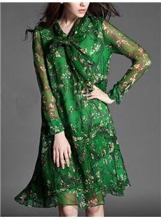 欧米セレブ愛用新品 大物の緑花柄シフォン膝丈ワンピース