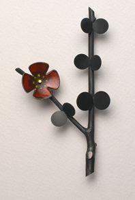 Ikebana brooch with red enamel by Anna Gordon