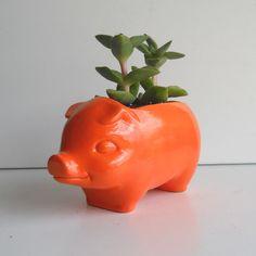 Cerdo plantador 60s cerámica Mini escritorio cerdo por fruitflypie