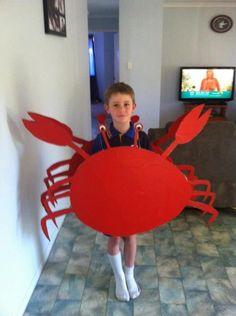 Bilderesultat for diy crab costume Fancy Dress For Kids, Animal Costumes Diy, Diy Costumes, Fancy Costumes, Little Mermaid Costumes, The Little Mermaid, Crab Costume, Sea Creature Costume, Toddler Activities