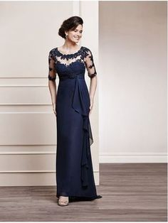 Long Lace and Chiffon Navy Blue Mother of The Bride Dresses 907016
