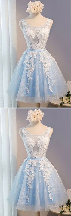 Light Blue Homecoming Dress,Tulle Lace Applique O-neck Short Prom Dresses with Straps HCD25Short Prom Dresses,Homecoming Dresses,Prom Gowns,Party Dresses,Graduation Dresses,Short Prom Dresses,Gowns Prom,Cheap Prom Gowns on Line