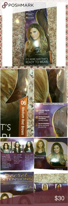 Secret Extensions ..Medium Red Brown This is the same thing you've seen on TV. they sell for 39.95 plus 5.95 shipping. I ordered 2 of these but I don't like the color for myself so I'm selling the New Unopened one.  If you want the other, it was only tried on for 2 minutes then put away in the enclosed hair storage bag. I'll add it to your package for an additional 10.00 Takes a whole minute to add volume and/or length. Accessories Hair Accessories