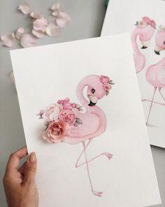 Drawing Potlood Rose New Ideas Flamingo Illustration, Cute Illustration, Watercolor Illustration, Watercolor Art, Flamingo Painting, Flamingo Art, Pink Flamingos, Flamingo Drawings, How To Draw Flamingo