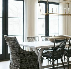 This modern country dining room by Blackband Design gets recreated for less by copycatchic luxe living for less budget home decor and design look for less Dining Room Design, Dining Room Chairs, Cream Dining Room, Black And White Dining Room, Rustic Bathroom Lighting, Linear Pendant Lighting, Country Dining Rooms, Visual Comfort, Small Living Rooms