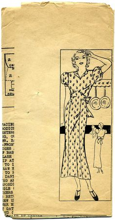 1930s Mail Order Dress Pattern Bust 36 Short Sleeve Household 6773 Collectible. $19.95, via Etsy.